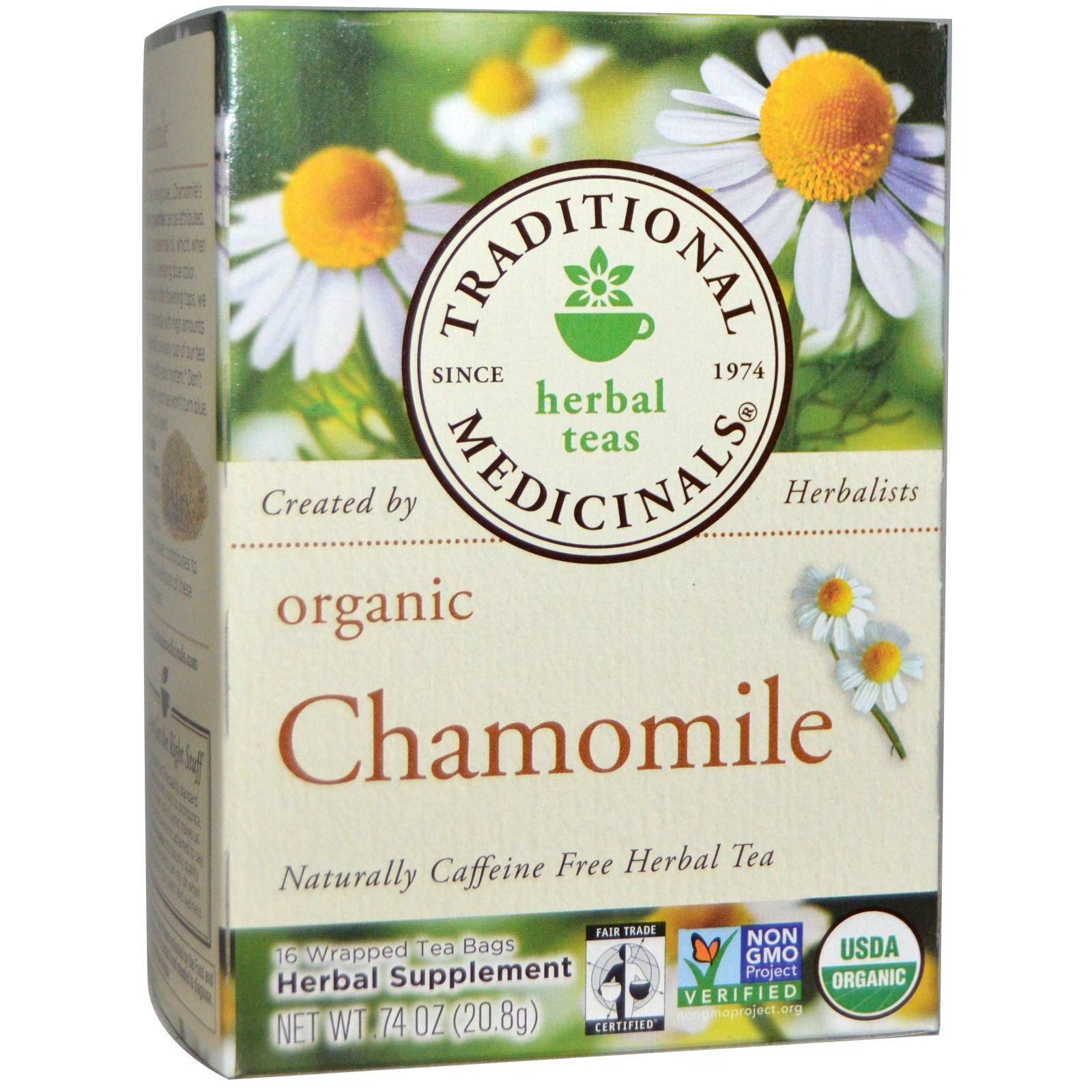 Traditional Medicinals, Herbal Teas, Organic Chamomile, Caffeine.