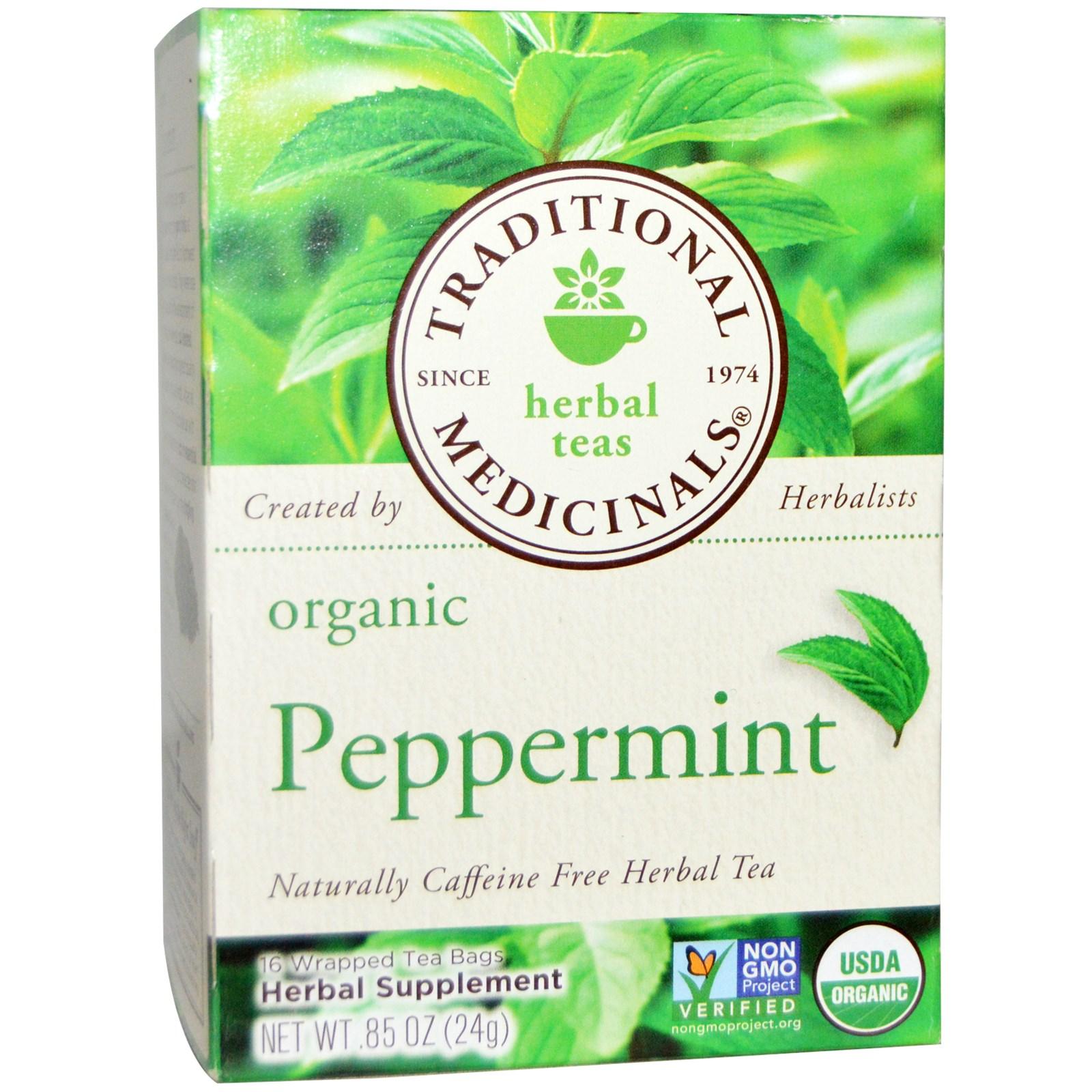 Traditional Medicinals, Herbal Teas, Organic Peppermint, Caffeine.