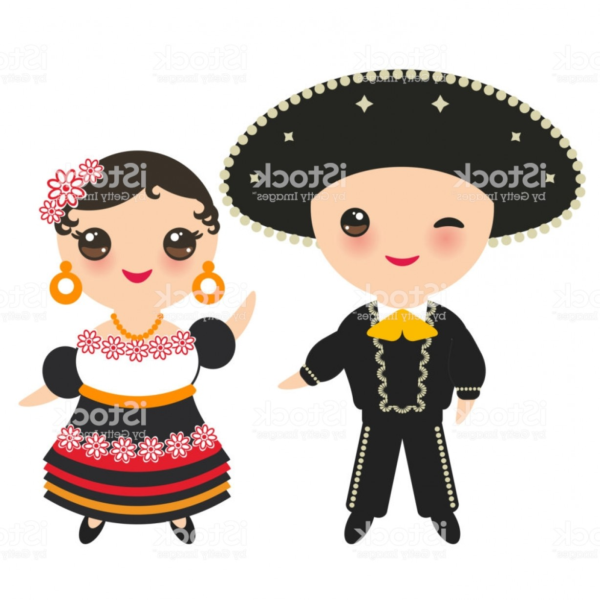 Mexican Boy And Girl In National Costume And Hat Cartoon.