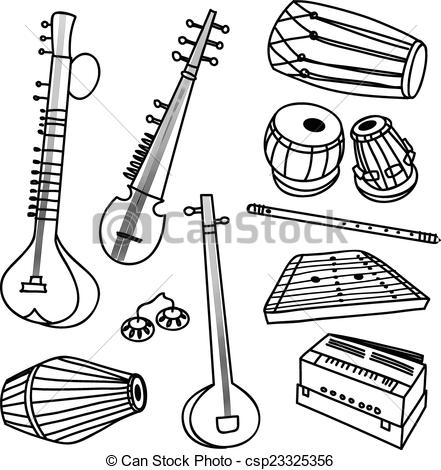 Indian music instruments clipart.