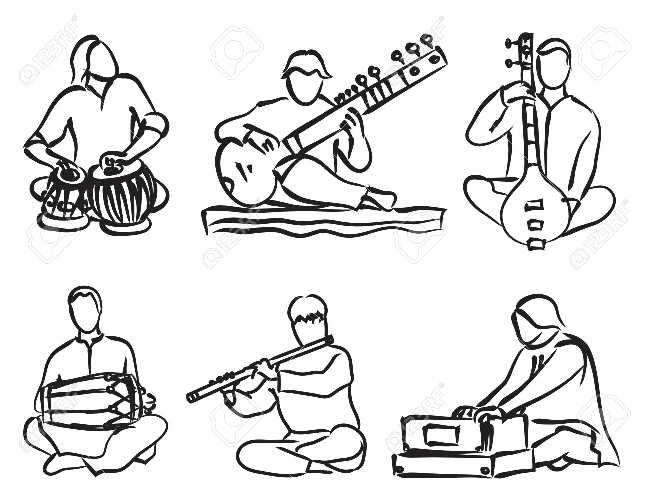 Indian musical instruments clipart.