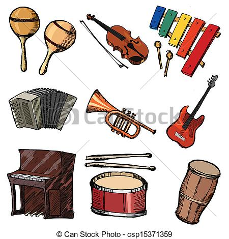 Clipart Vector of set of musical instruments.