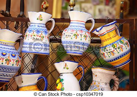 Stock Photography of Traditional Pottery in Toledo, Spain.