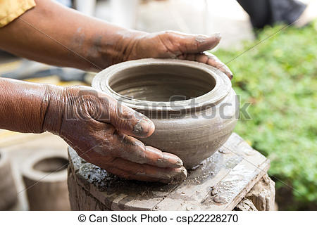 Picture of Hand made clay pots , Thai traditional pottery.