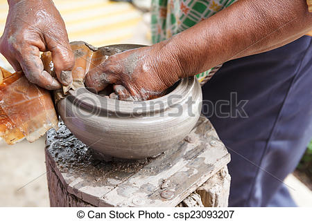 Stock Photography of Hand made clay pots , Thai traditional.