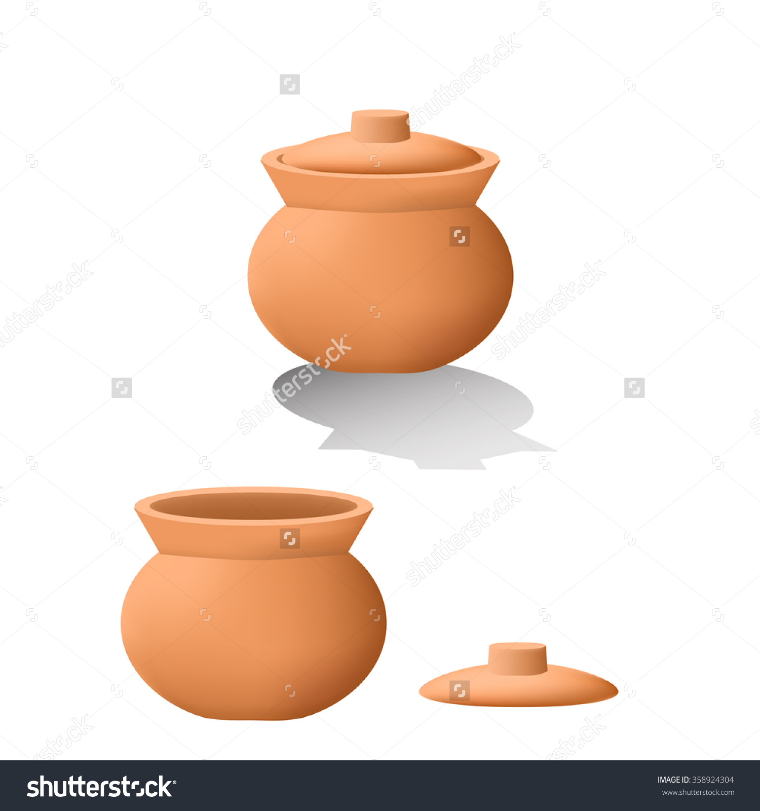 Traditional Asian Clay Pot 3d Mesh Stock Vector 358924304.