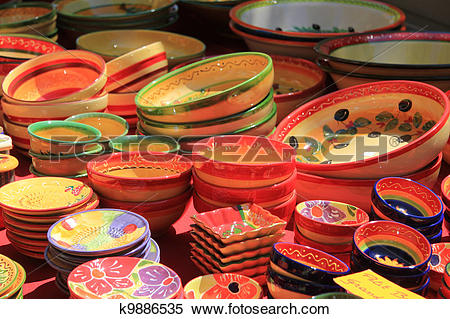 Stock Image of traditional pottery on a market in the Provence.