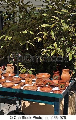 Stock Image of Greek pottery.