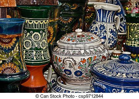 Stock Photo of Romanian traditional ceramics.