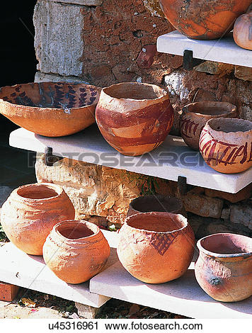Stock Photography of Europe, outside, traditional design, pottery.