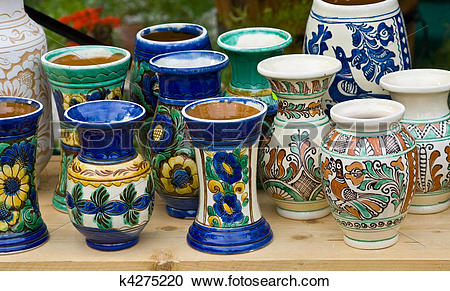 Stock Photography of Romanian traditional pottery k4275220.
