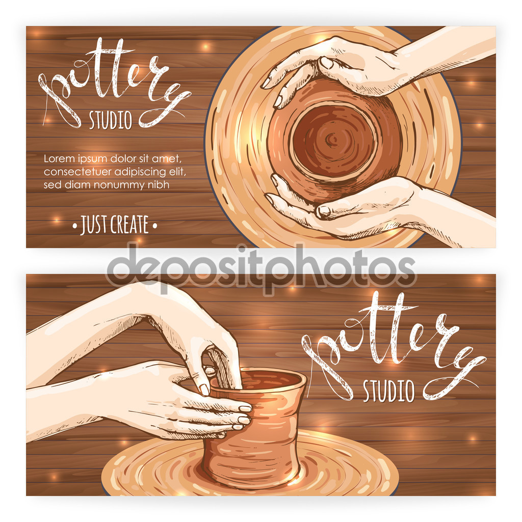 Banners or postcards with traditional pottery making — Stock.