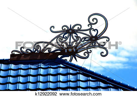 Clip Art of borneo traditional tribal carvings on the roof top of.