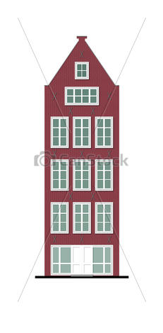 Clip Art of traditional townhouse vinous brick facade.