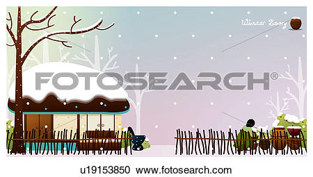 Stock Illustrations of sitting, snow, korean traditional house.
