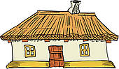 Thatch roof house clipart.