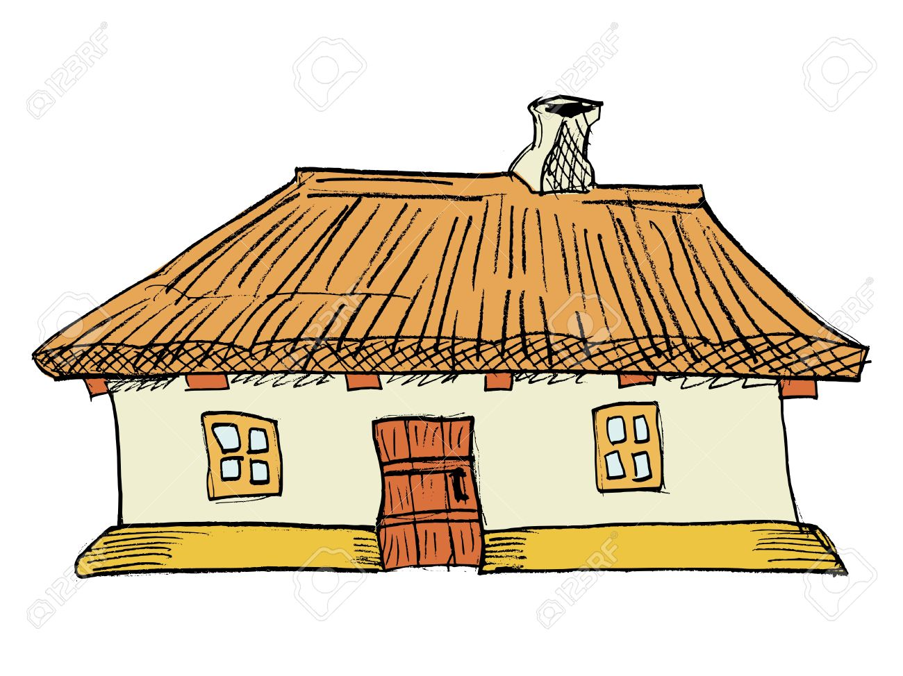 Cartoon, Ukrainian Traditional House Royalty Free Cliparts.