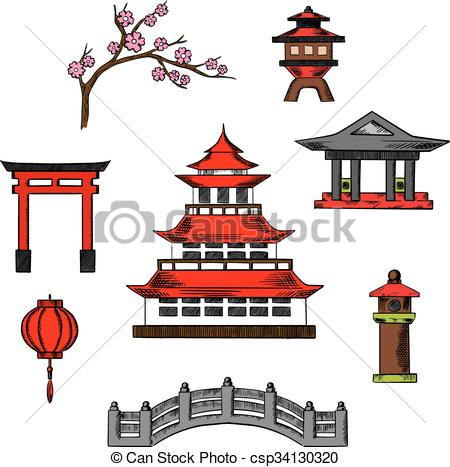 Vector Illustration of Japan travel and culture cions.