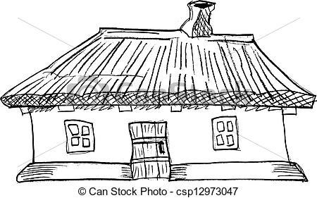 EPS Vector of Ukrainian traditional house.