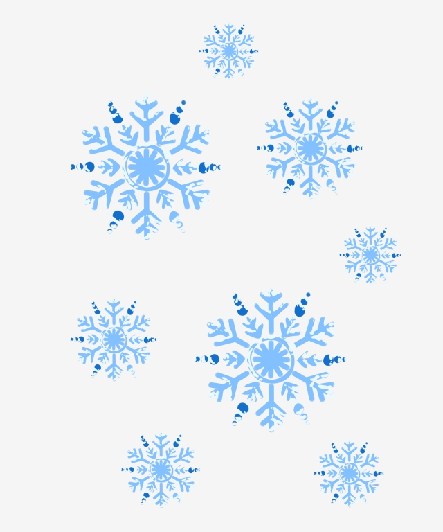 Blue Snowflake Cartoon Illustration Hand Drawn Snowflakes.