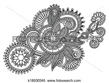Clipart of black and white original line art ornate flower design.