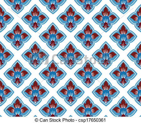 Clip Art Vector of thai traditional style art pattern in vector.
