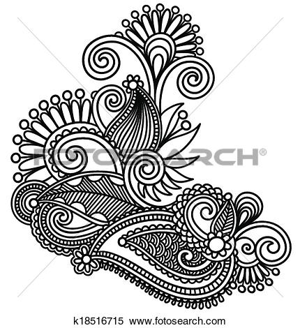 Clipart of original hand draw line art ornate flower design.