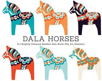 Bright Dala Horse Clip Art. Traditional Nordic Folk Art Designs.