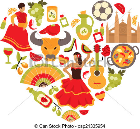 Clipart Vector of Spain heart print.