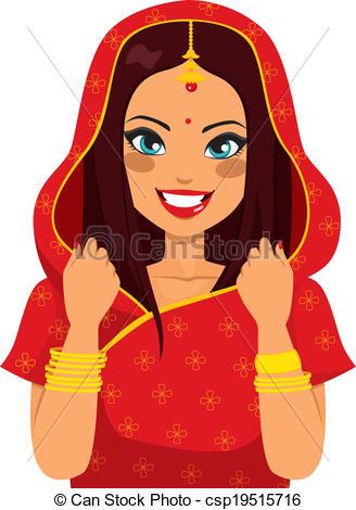 Vektor Clip Art von traditionelle, frau, indische.