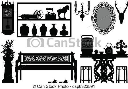 Vektor Clip Art von antikes, traditionelle, altes, möbel.