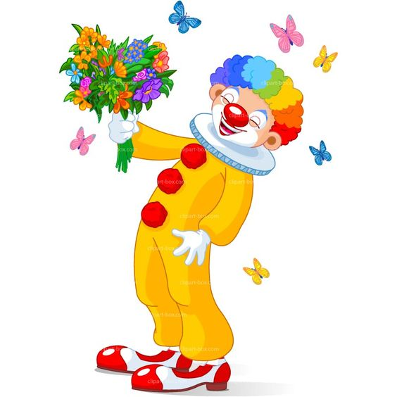 CLIPART LAUGHING CLOWN WITH FLOWERS.