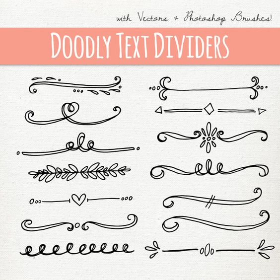 CLIP ART: Doodly Text Divider // ABR Photoshop Brushes // Hand.