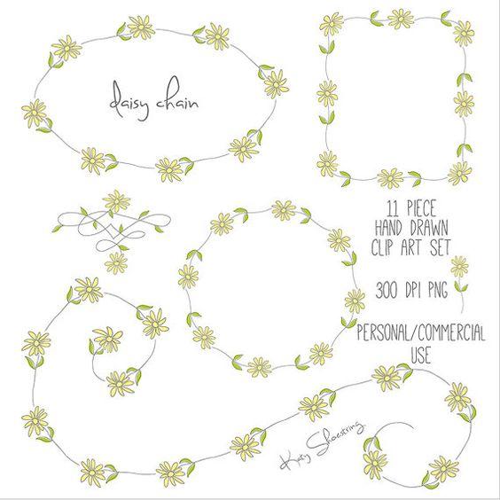 Hand Drawn Daisy Clip Art, Wreath, Frames, Borders, Garland.