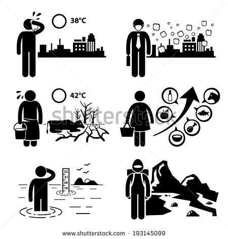 Global Warming Greenhouse Effects Stick Figure Stock.