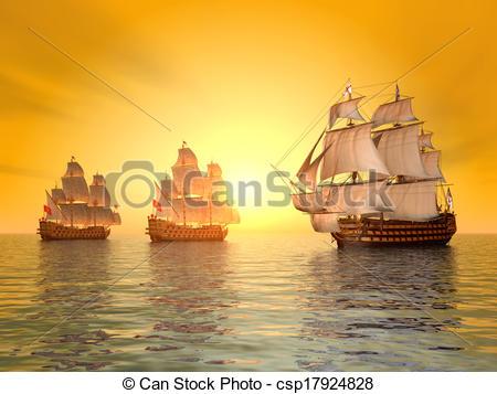 Clip Art of The Battle of Trafalgar.