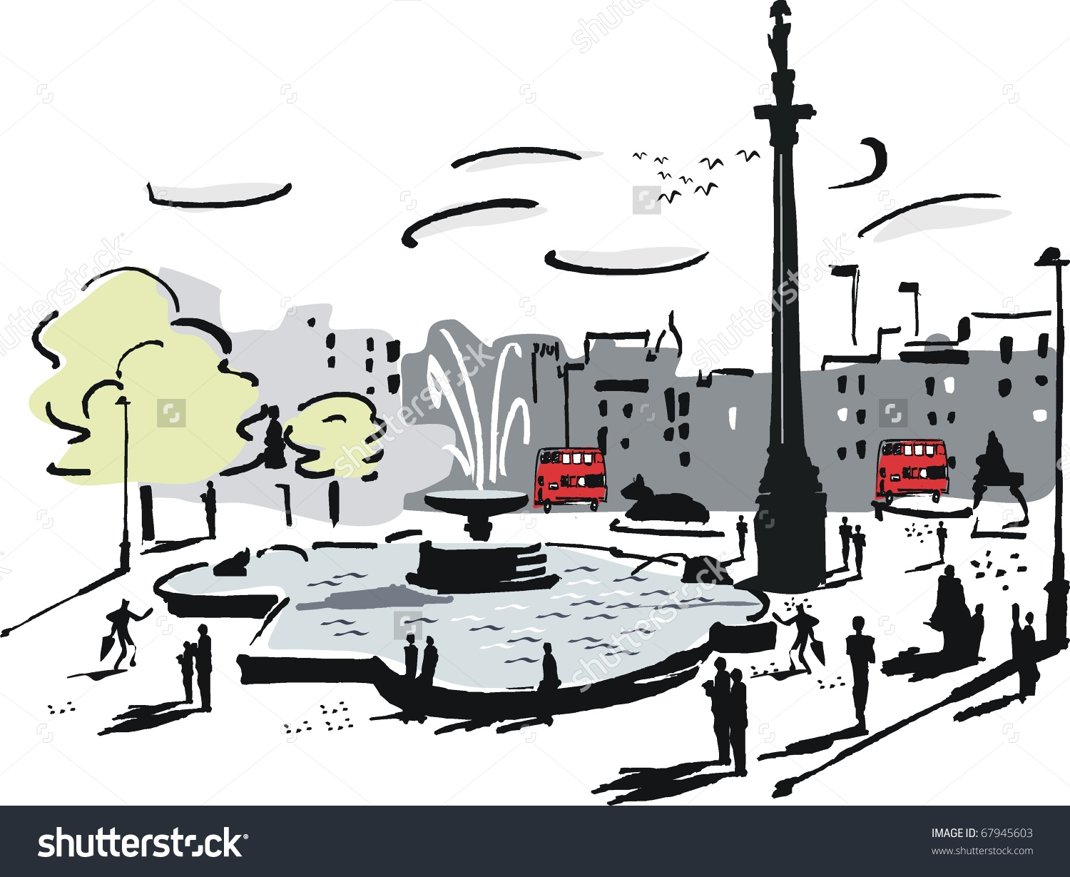 Vector Illustration Trafalgar Square London England Stock Vector.