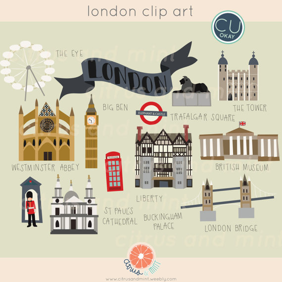 London Digital Clip Art 23 Hand Drawn by CitrusandMint on Etsy.