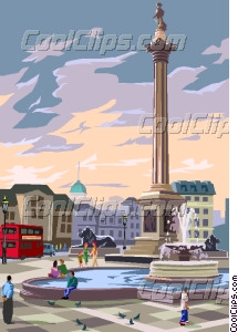 Trafalgar square Vector Clip art.