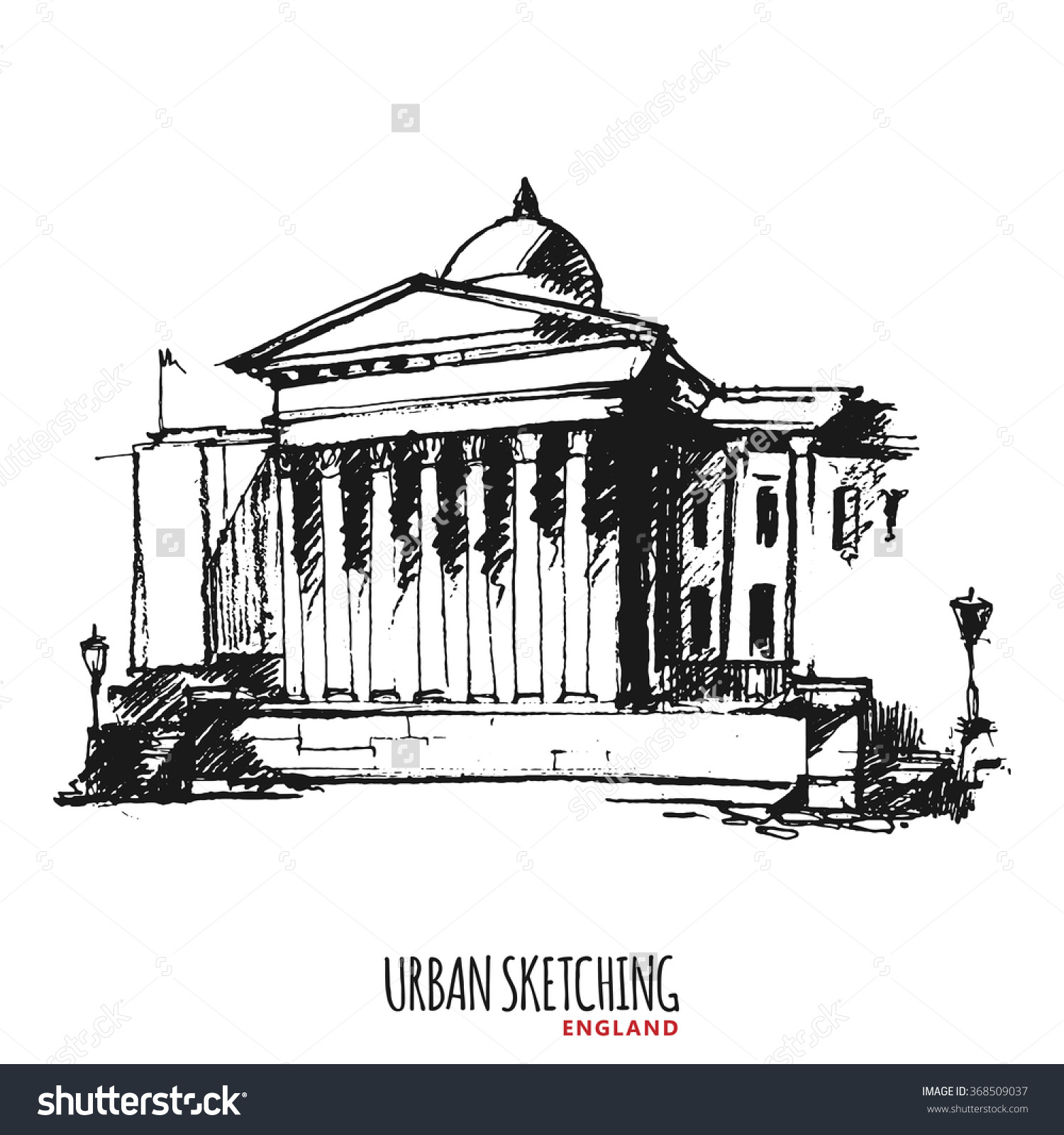 England London Vector Urban Sketch Trafalgar Stock Vector.