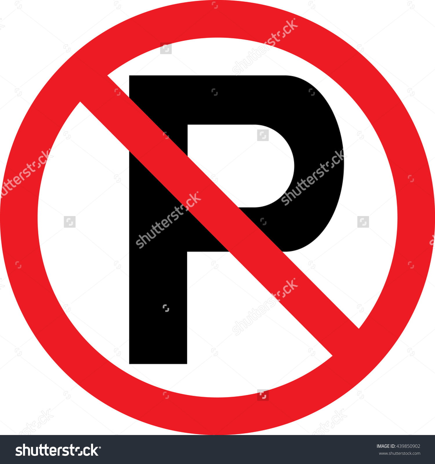 Traffic Road Car Parking Sign No Stock Vector 439850902.