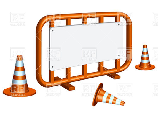 Restricted area fence and traffic cones Vector Image #11752.