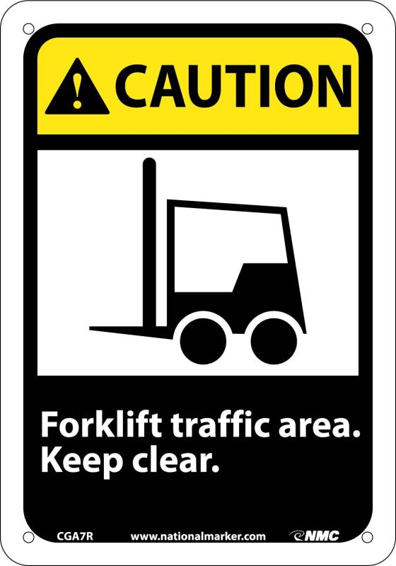 national marker co CGA7R caution forklift traffic area keep clear.