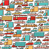 Clipart of Cartoon car jam / Tough traffic k13998250.