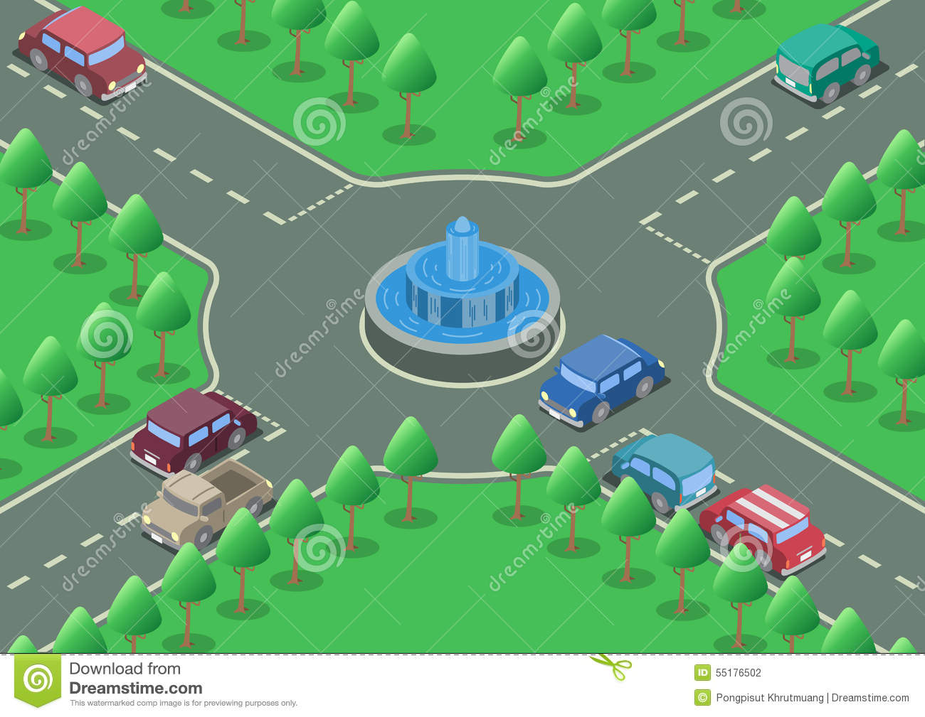Roundabout road clipart.