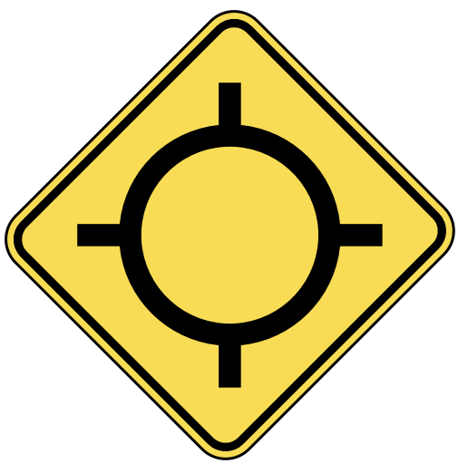traffic circle ahead.