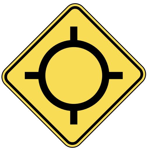 traffic circle ahead.