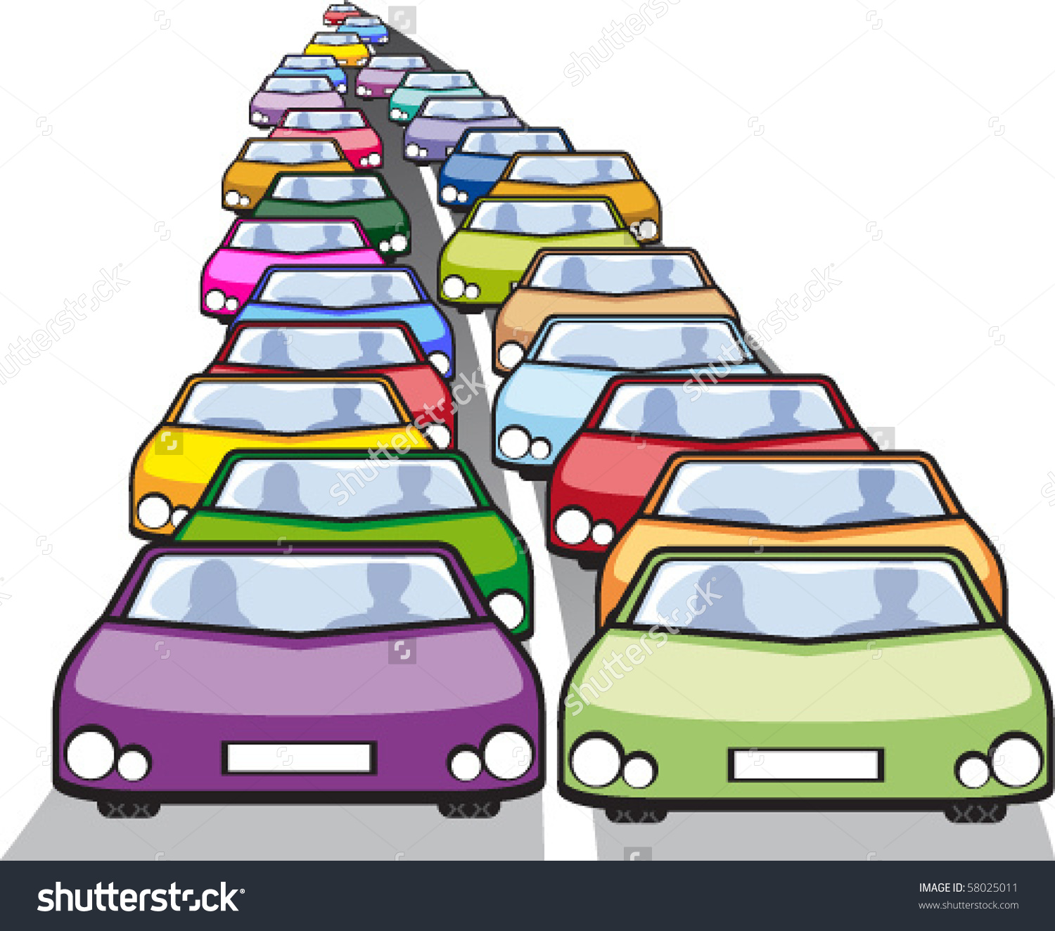 Row of cars clipart.