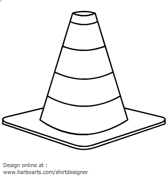 Traffic cone clipart black and white.
