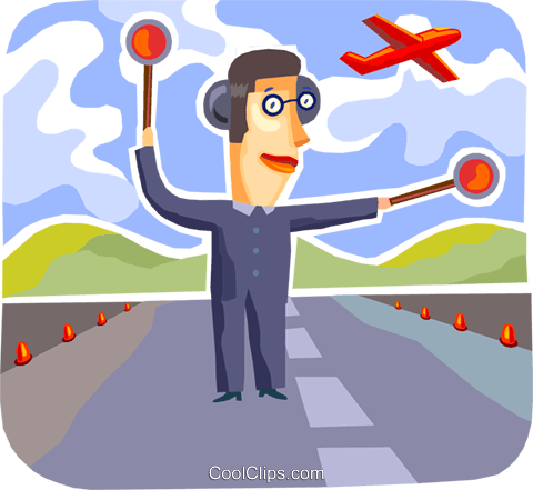Air Traffic Control Royalty Free Vector Clip Art illustration.